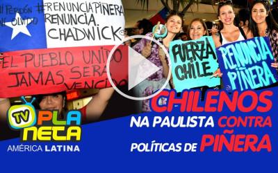 Protesto contra Sebastián Piñera em frente ao consulado chileno na Av. Paulista em São Paulo