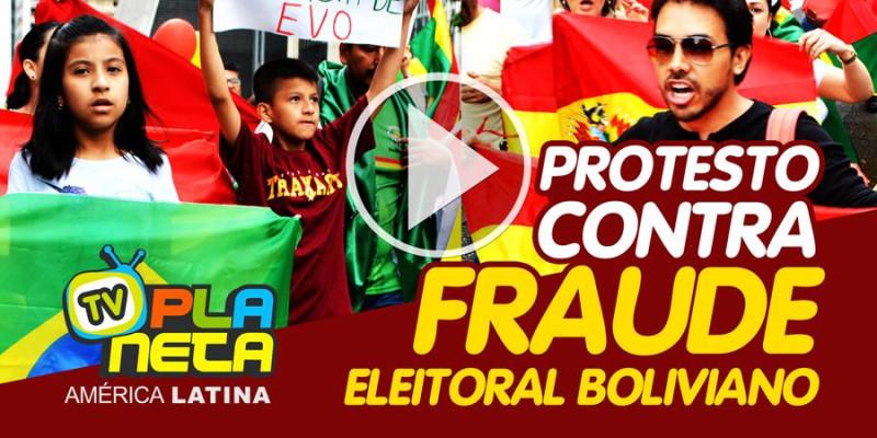 Bolivianos protestam no Brasil contra Fraude nas Eleições Gerais na Bolívia