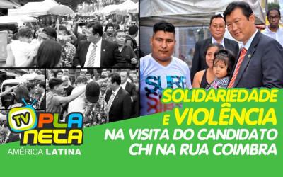Distúrbios e agressões na Rua Coimbra durante visita do candidato boliviano/coreano Chi Hyun em São Paulo