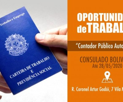 Oportunidade de trabalho no Consulado Boliviano