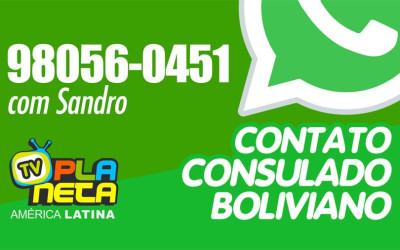 Consulado boliviano fornece contato WhatsApp para atenção ao público