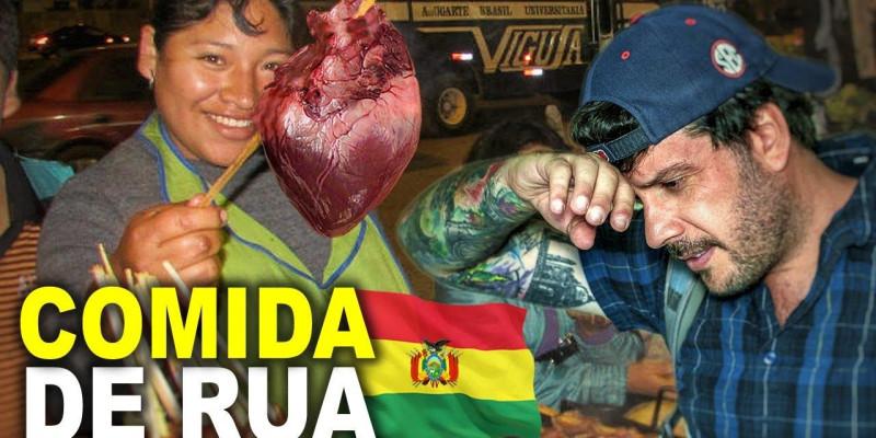 O Mochileiro Mayke confere a comida de Rua em La Paz na Bolívia