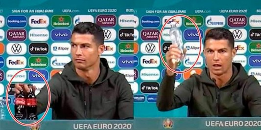 Cristiano Ronaldo retira garrafas de Coca-Cola antes de entrevista, pega uma de água e diz: 'Bebam água'