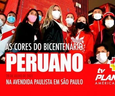 No bicentenário peruano o prédio da FIESP na Av. Paulista, vestiu as cores do Peru em São Paulo