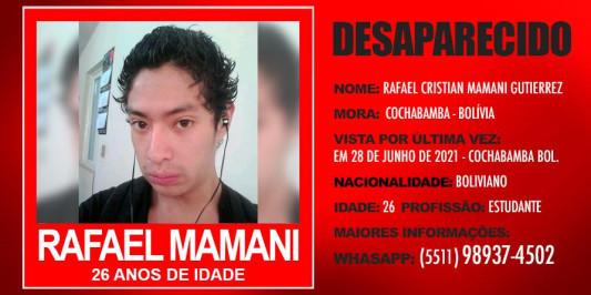 Desaparecido o boliviano RAFAEL CRISTIAN MAMANI GUTIERREZ