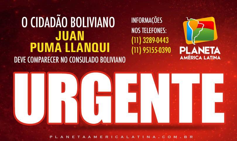 Juan Puma Llanqui é convocado a comparecer no Consulado Boliviano em SP