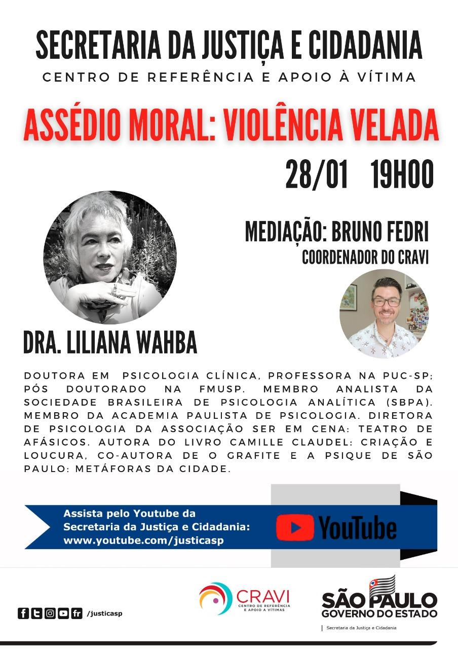 CRAVI promove palestra sobre assédio moral nesta quinta-feira (28)