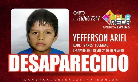 Desaparecido YEFFERSON ARIEL, garoto boliviano de 12 anos