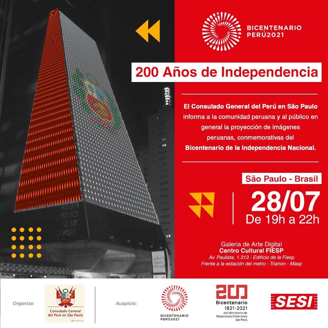 Peru comemora o bicentenário nacional em São Paulo